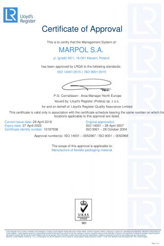 Certyfikat ISO 9001 i ISO 14001 MARPOL EN